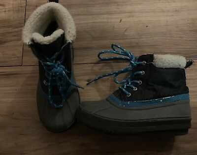 GYMBOREE King of Cool Winter Boots Gray//Blue Lace Up Youth Size 13 1 NEW