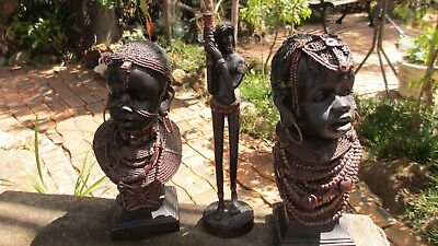 3x African Resin  statues 2x head / busts ,& 1x standing lady