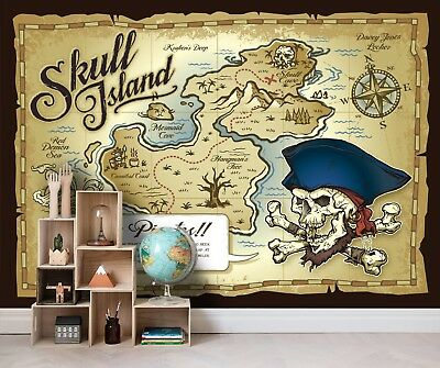 3d Pirate Map Self Adhesive Removable Photo Wallpaper Wall