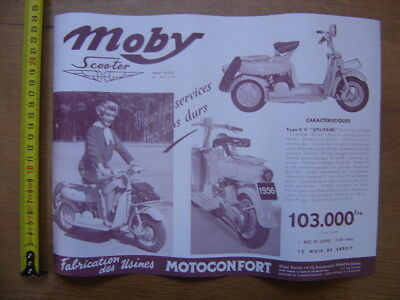 MOTOCONFORT publicite MOBY SCOOTER pin up annees 50 's