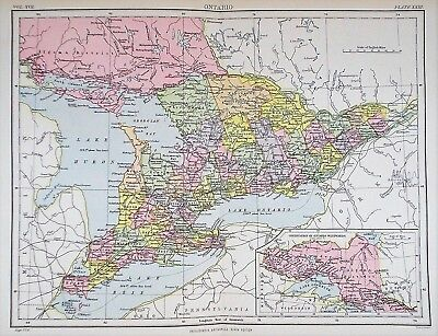 OLD ANTIQUE MAP CANADA ONTARIO PROVINCE c1880's by W & A K JOHNSTON COLOURED