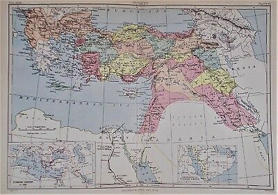 OLD ANTIQUE MAP TURKEY c1880's by W & A K JOHNSTON PRINTED COLOUR