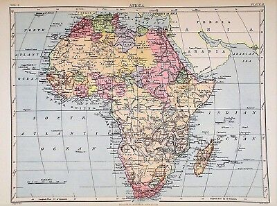 OLD ANTIQUE MAP AFRICA c1880's by W & A K JOHNSTON PRINTED COLOUR
