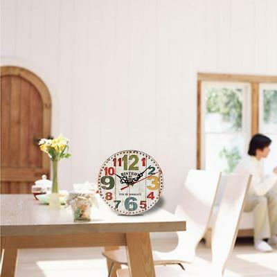 Artistic Silent Creative European Style Round Antique Wooden Home Wall Clock EV