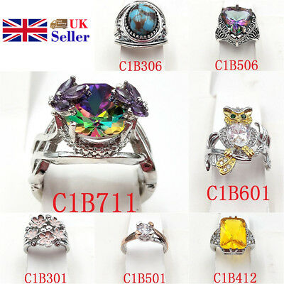 Women Ring Bling Multicolor Zircon Girls Romantic Cool  Fashion Simple Jewelry