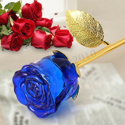 24K Gold Crystal Rose Dipped Flower Real Stem Romantic Valentine's Day Love Lady