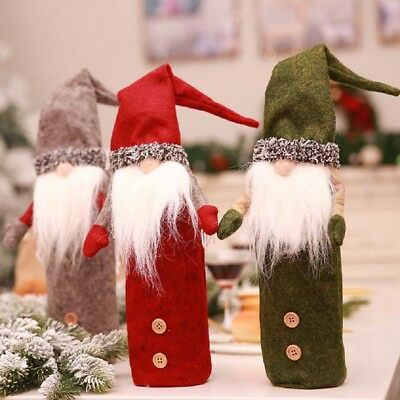 Nordic Santa Dwarf Doll Wine Bottle Cover Cap/Case Christmas Ornaments Decor GR