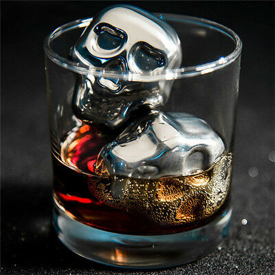 Stainless Steel Skull Ice Cube Cooling Beer y Wine Cocktail Rock Cooler Stone GR