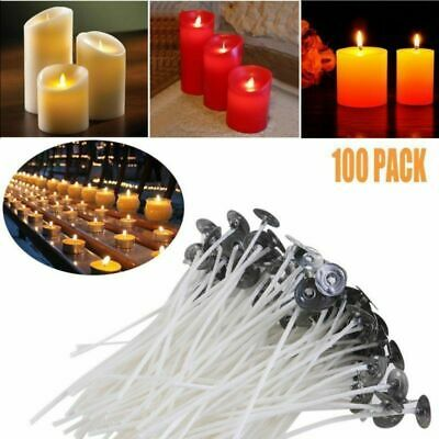 100X 200mm Pre Waxed Wicks For Candle Making with Sustainers +10X Center Devices
