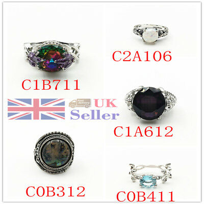 Women Silver Plated Ring Wedding Charm Jewelry Fashion Gift For Ladies Size 6-10