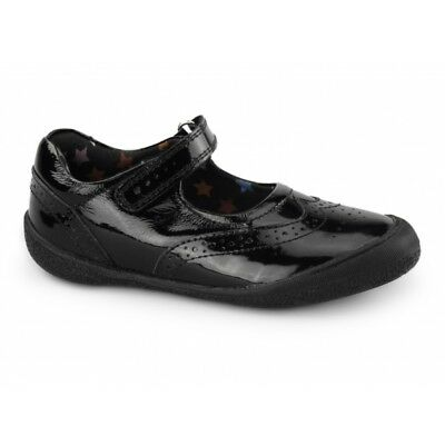 Hush Puppies RINA Girls Patent Leather Mary Jane Touch Fasten School Shoes Black