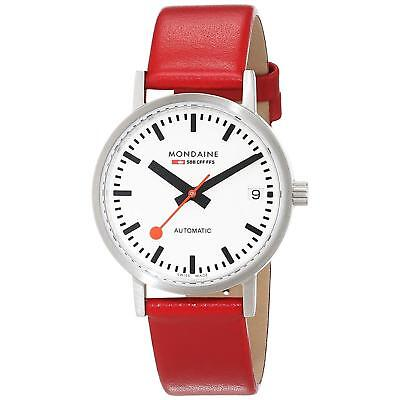 Mondaine Men's Classic 33mm Red Leather Band Automatic Watch A128.30008.16SBC