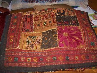 Antique/Vintage Tapestry/Hanging/Cloth,Asian,Hand Crafted,Russet Tones & Mirrors