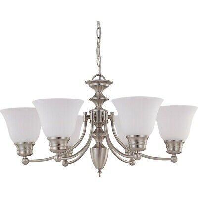 """Nuvo Empire 6 Light 26"""" Chandelier w/ Frosted White Glass - 60-3255"""