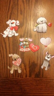 Handmade Fabric Magnets Valentine Day Dogs Puppy Cute Hearts Set of 6