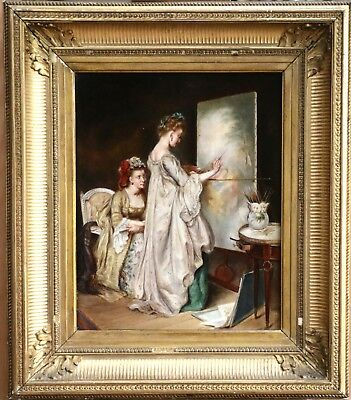 19th CENTURY FRENCH OIL ON PANEL - TWO ELEGANT FEMALE ARTISTS IN STUDIO