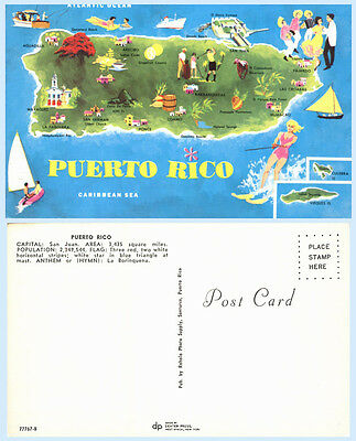 Map Card Puerto Rico Caribbean Water Skiing Boating Golfing Postcard