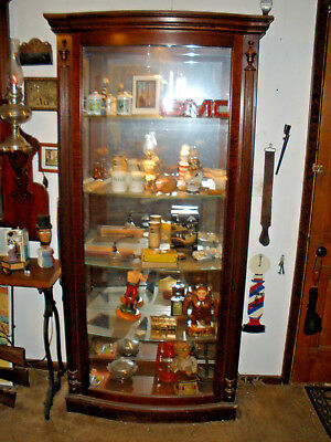 Antique Curio-China-Showcase-Or Barber Shop Display Cabinet