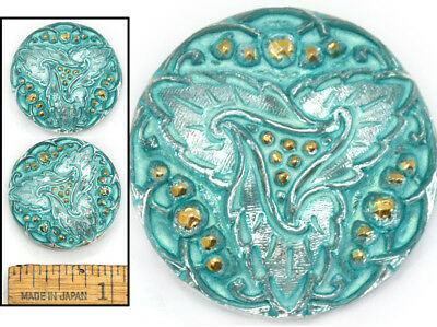 27mm Vintage Czech Glass Turquoise Gold Lacy TRIANGLE LEAF Triskele Buttons 2p