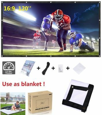 "120"" Portable Home Outdoor Collapsible Projector Projection Screen 16:9 Movie UK"