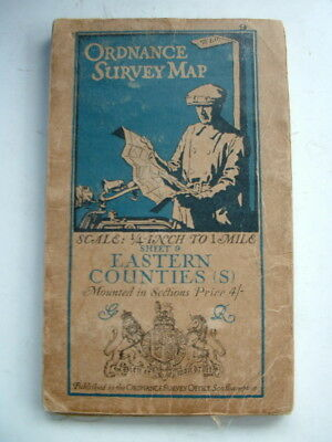 1920 Os Ordnance Survey Map East Anglia Ipswich Chelmsford Cambridge Huntingdon