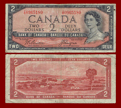 "1954 Canada Two Dollars ""devil's Face"" Note 5180"