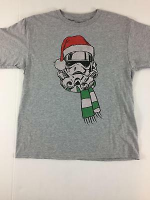 Star Wars Men Large Shirt Christmas Grey NWT Red Green Storm Trooper Hat White
