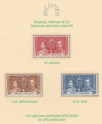 524 Br VIRGIN IS 1937 CORONATION set perforated  SPECIMEN  about 420 produced