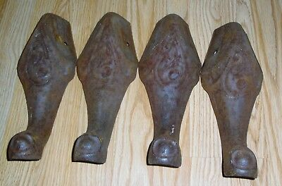 Lot of 4 ANTIQUE ORNATE CAST IRON STOVE FEET LEGS MATCHING GREAT FOR REPURPOSE