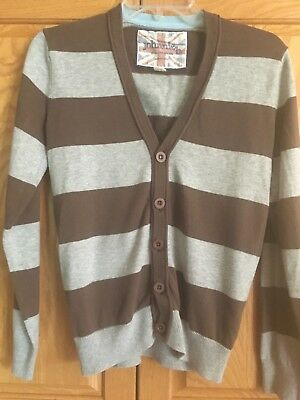 Johnnie B. Boden Brown/Gray Striped Button Front Cardigan Sweater Youth S 10-12