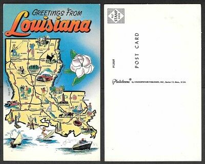 Old Map Postcard - Greetings from Louisiana