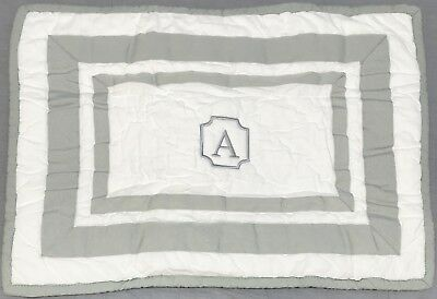 """1 Pottery Barn Kids Gray Harper Quilted 12x16"""" Sham """"A"""" Monogram"""