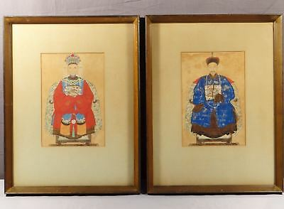 19th CENTURY CHINESE ANCESTRAL PORTRAIT PAINTINGS of HUSBAND & WIFE, ROYALTY