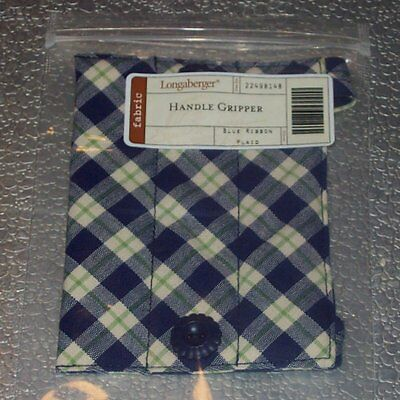 Longaberger Blue Ribbon Plaid HANDLE GRIPPER Button-Style ~ Brand New in Bag!