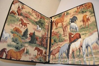 "Wild Horses Equestrian Riding Padded Fabric Beautiful Handmade 1"" Binder USA VTG"