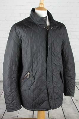Mens Barbour Chelsea Sports Quilted Jacket Coat Terrace Casuals Black Large