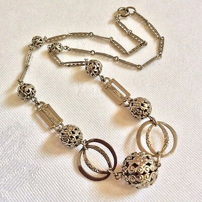 Vintage Art Deco 1930's Machine Age Jakob Bengel? Chrome Filigree Bead Necklace