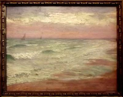 AUGUSTA MARCON 1892-1980 Antique Impressionist Oil Painting TRANQUIL SEASCAPE