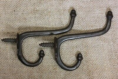 2 coat hooks twist in old school farm house rustic 1880's vintage iron antique