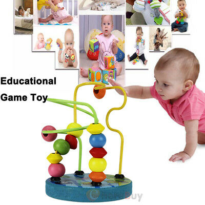 Cute Baby Toddler Kids Educational Wooden Bead Intelligence Game Toy Child Gift