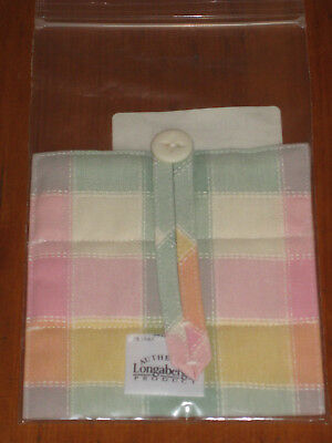 Longaberger Basket Handle Gripper Pastel Plaid Fabric Button Style New In Bag