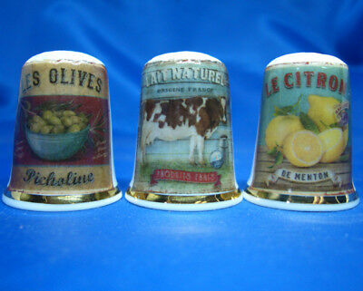 Fine Porcelain China Thimbles - Set Of Three French Adverts