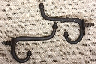 2 coat hooks twist in old school farmhouse rustic! 1880's vintage iron antique