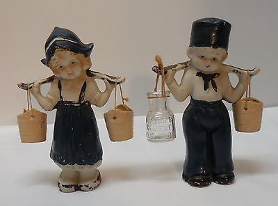 Dutch Boy and Dutch Girl Carrying Buckets Bisque Made in Japan Vintage