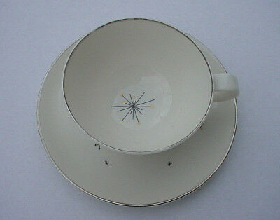 Vintage Syracuse China Evening Star Mid-Century Modern Atomic Cup and Saucer