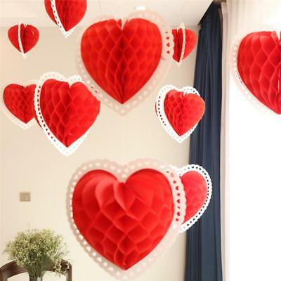 3D Paper Love Heart Red Hanging Decoration Ornaments Valentines Day Wedding 3D