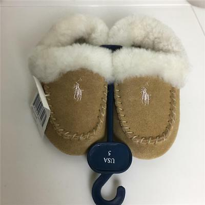 New RALPH LAUREN Baby Girls Boys Slippers 5 NWT Suede Leather