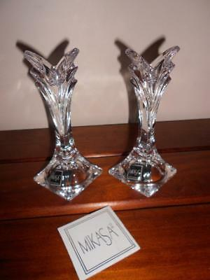 Gorgeous MIKASA Lead Crystal ART DECO Style Candle Holder PAIR Slovenia