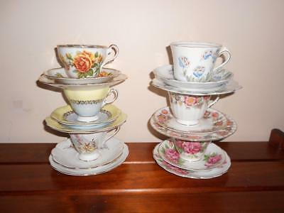 "x 6 Vintage ENGLISH Bone China Assorted ""Trios"" Cups & Plates 18 Pieces High Tea"