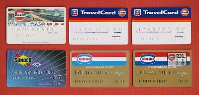 Vintage Lot of 12 Gas Station CREDIT CARDS Gulf, Mobil, Union 76, Shell, SOHIO +